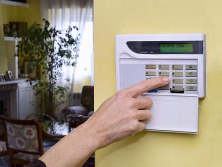 burglar: Pushing Alarm. Home security