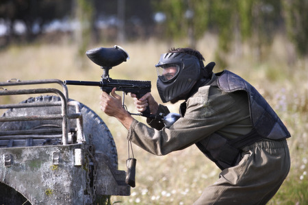 road warrior: Paintball player Stock Photo