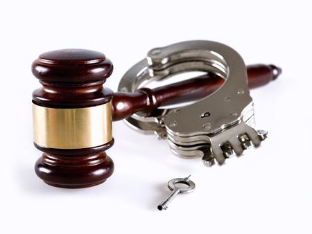 criminal activity: Gavel and handcuff