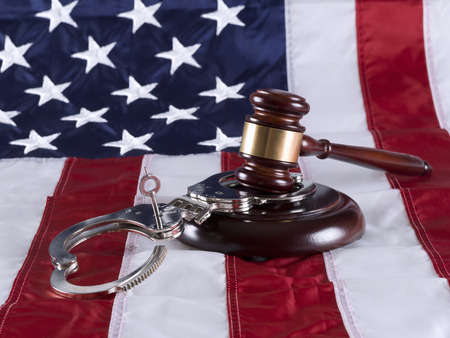 Gavel, handcuff and American flag Stok Fotoğraf - 36172925