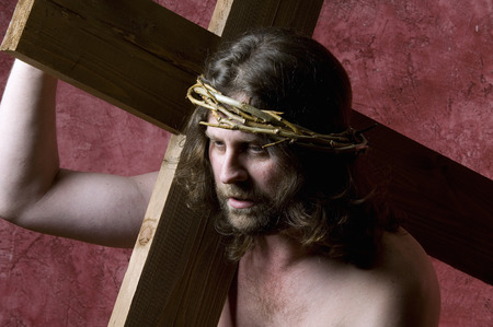 passion of the christ: Christ carrying the Cross Stock Photo