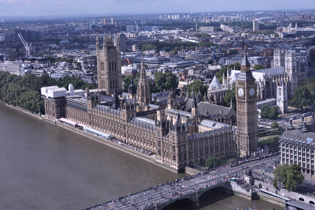 houses of parliament: Aerial view of Parliament in London and its famous clock