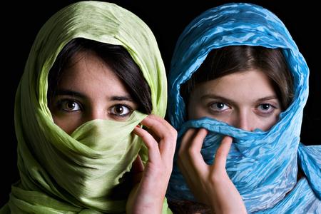 period costume: Portrait of two Muslim women Stock Photo