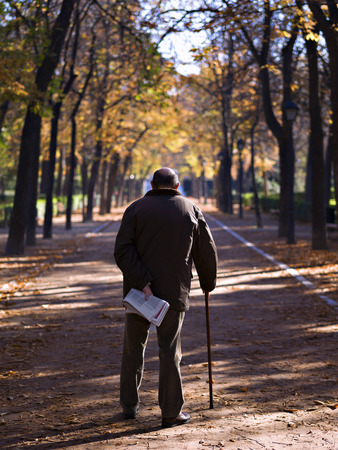 Sight of backs of a senior adult, walking along a park Stok Fotoğraf - 38156643