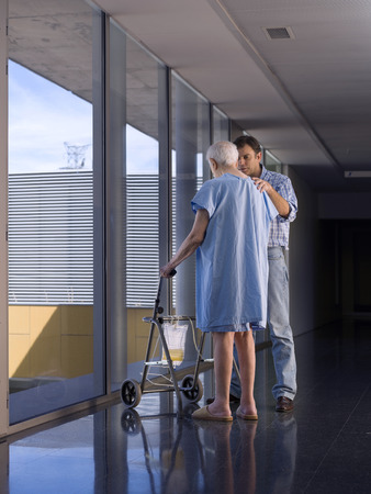 80 plus years: Elderly person in hospital, with the help of a walker