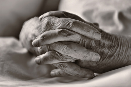 80 plus years: Hands of an elderly man Stock Photo
