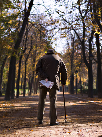 Sight of backs of a senior adult, walking along a park