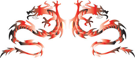 Gemini dragons in a mirror image. Vector