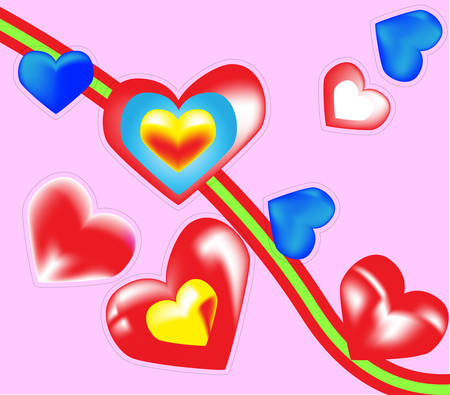 Valentines hearts of,krasnaya and green line on a pink background.Vector Vector