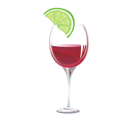 vermouth: glass on a white background.vector