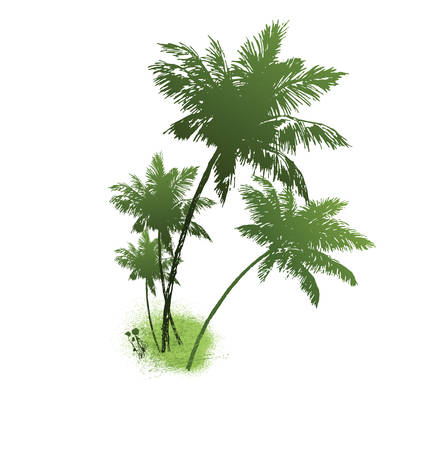 green silhouette of tree on a white background.vector Vector