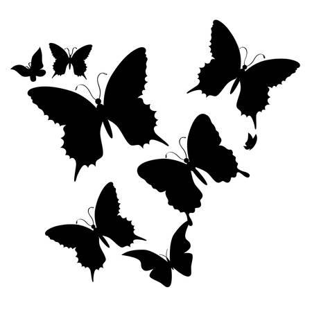 farfalla nera: silhouette di farfalla su un bianco background.vector Vettoriali