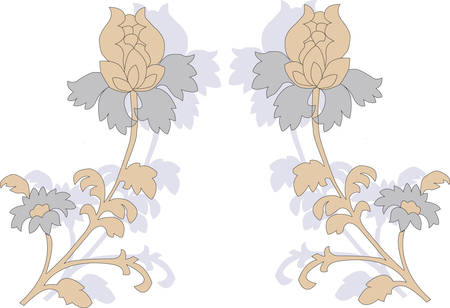 Mirror reflection of flower on a white background. Vector Vector