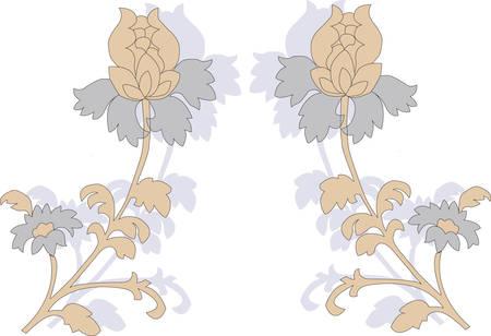 reflejo en espejo: Reflejo de espejo de flor sobre un fondo blanco. Vector
