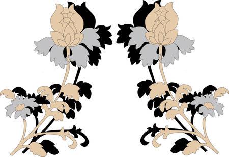 reflejo en espejo: El reflejo de flores sobre fondo blanco Vectores