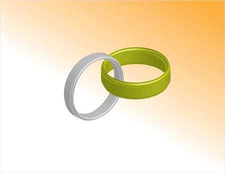 serebrennoe and gold rings orange background Vector