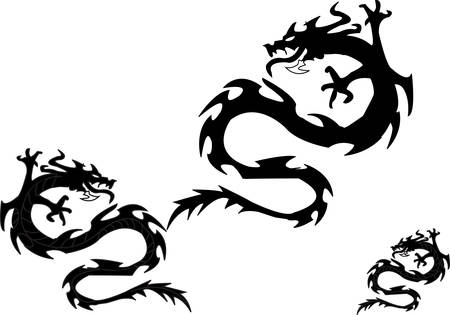 Silhouettes of dragons on a white background.. Vector Vector