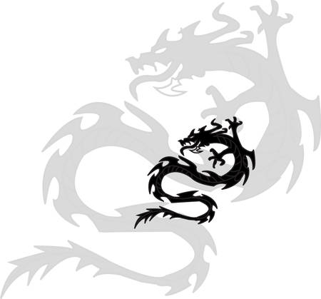 black silhouette of dragon. shade of drakona.na white background Vector