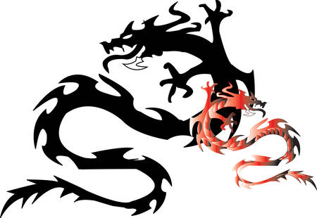 dragon with shade on a white background Illustration