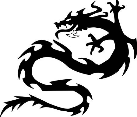 black silhouette of dragon on a white background Vector