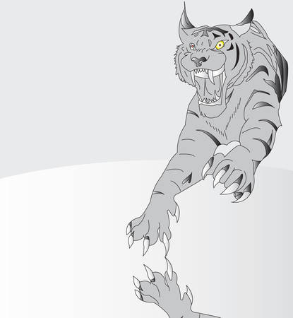 spring-elastic tiger. flippy. picture on a grey background Vector