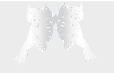 zerkol'noe reflection of tiger on a grey background.Vector Stock Vector - 4837104