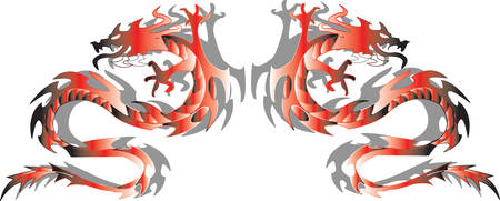 Gemini dragons in a mirror image.Vector Vector