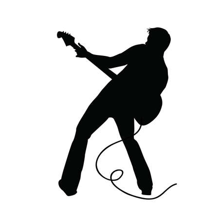 singer silhouette: silhouette of people on a white background. Stock Photo
