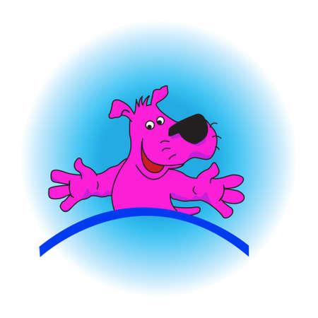 violet dog on a blue background. Stock Photo - 4925014