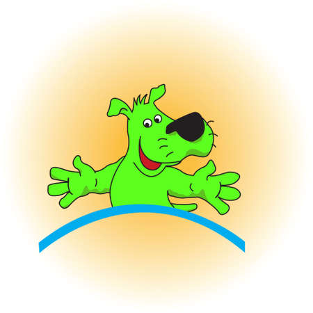 colorful green puppy on an orange background. Stock Photo - 4925015