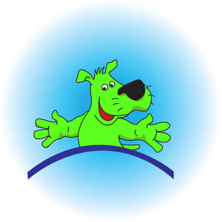 colorful green puppy on a blue background. Stock Photo - 4925016