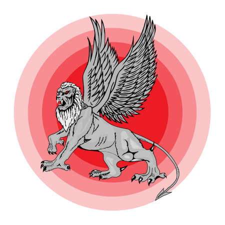 The big mythological griffin on a red background photo