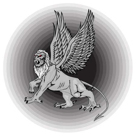 The big mythological griffin on a black background. photo