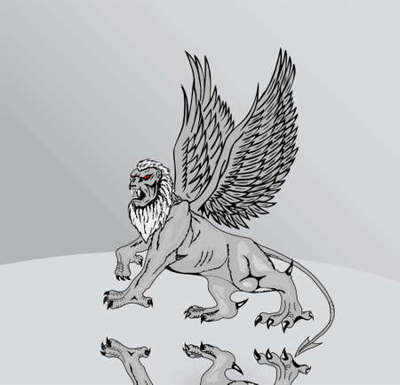 The big mythological griffin with mirror reflexion of its paws on a grey background. photo