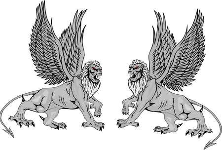 Two mythological griffins on a white background. photo