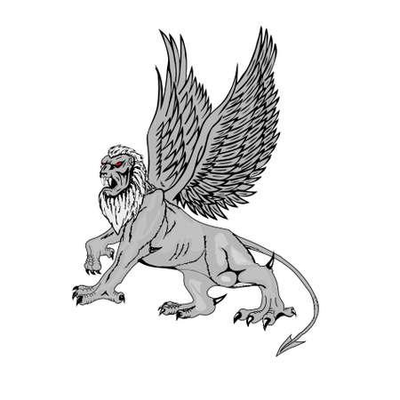 Mythological griffin on a white background. photo
