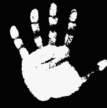 imprint of hand on a white background. photo