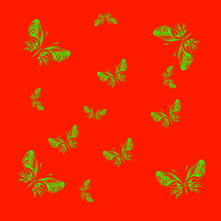green butterflies on a red background. illustration illustration