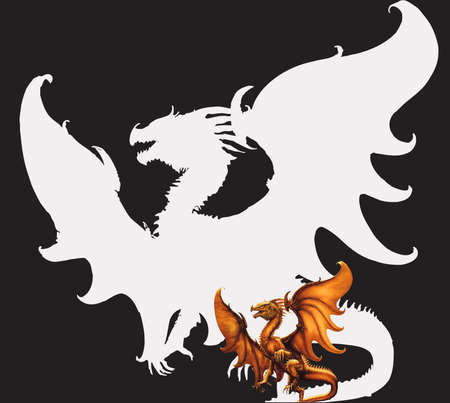 Flying dragon on a black background photo