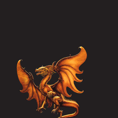 Flying dragon on a black background. Stock Photo