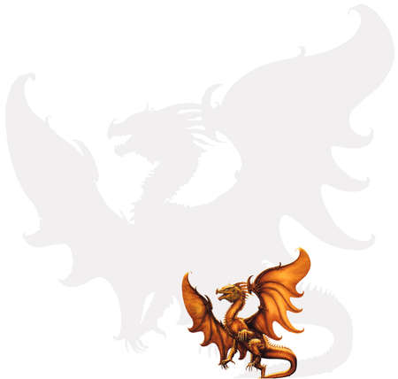 Flying dragon on a white background. photo