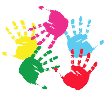 to commit: color prints of hands on a white background.