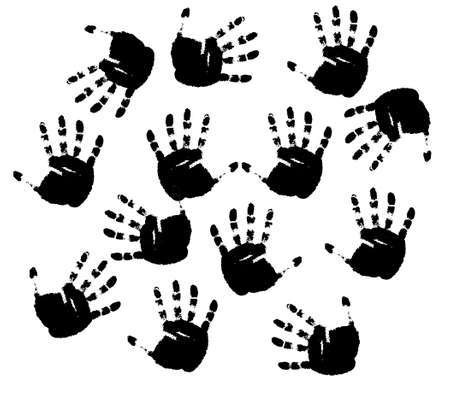 Black prints of hands on a white background. photo