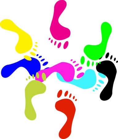 Colour prints of feet on a white background.vector photo