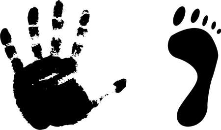 Black prints of a foot and hand on a white background.vector photo