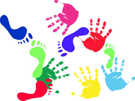 Colour prints of feet and hands on a white background.vector