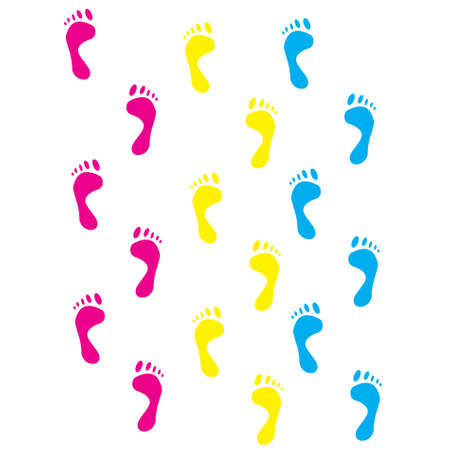 hand print: Colour prints of feet on a white background.vector