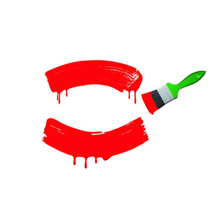 Red paint and green brush on a white background.vector Stock Photo - 5325857