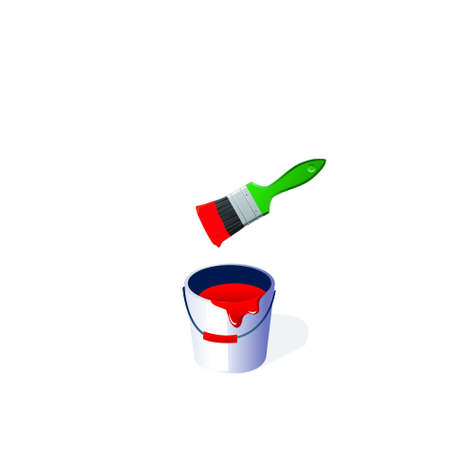 Bucket with a paint and a green brush on a white background.vector photo