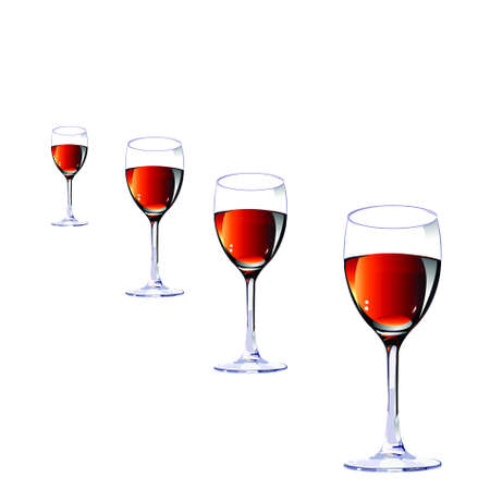 indulgence: Three glasses with wine on a white background.vector